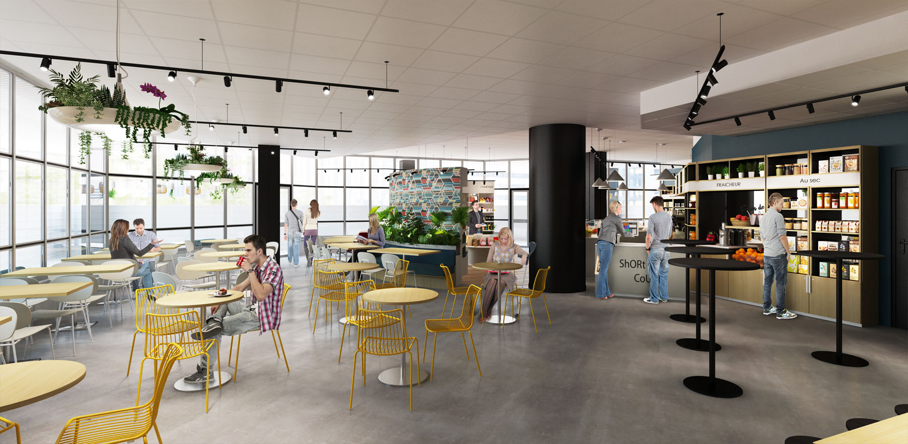 3D Rendering for a cafeteria and shop
